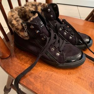G by Guess Black with Leopard Fur Sneakers